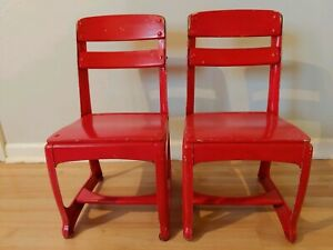 Lot 2 Vintage Child School Desk Chairs 11 American Mid Century Red Rustic Wood