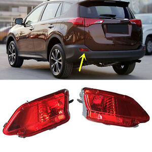 Red Len Rear Bumper Reflector Fog Tail Stop Warn Light For Toyota Rav4 2013 2015