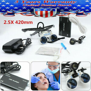 2 5x 420mm Pro Dental Surgical Loupes Optical Glass With Head Lamp Us Stock