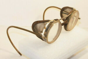 Antique Safety Glasses W side Shields Metal Frames Leather Trim Punk Small