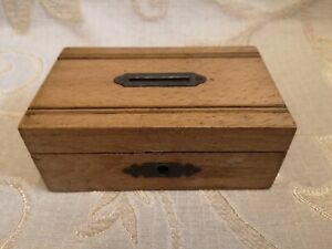 Antique Wooden Money Box With Lock