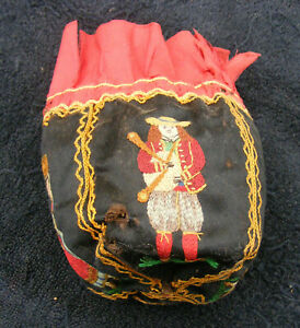 Antique French Silk Embroidered Sack Purse Rare With Brittany Peasants