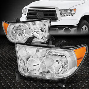 For 07 13 Toyota Tundra 08 17 Sequoia Chrome Housing Amber Corner Headlight Lamp