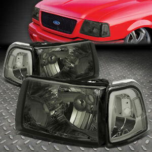 For 01 11 Ford Ranger Smoked Housing Clear Corner Headlight Replacement Headlamp