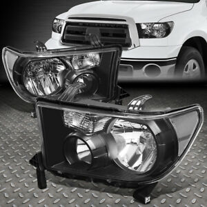 For 07 13 Toyota Tundra 08 17 Sequoia Black Housing Clear Corner Headlight Lamp