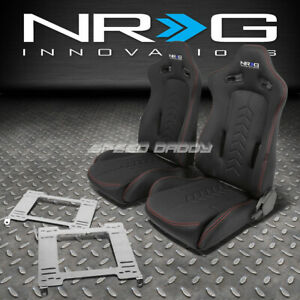 Nrg Black Reclinable Racing Seats stainless Steel Bracket For 99 04 Mustang Sn