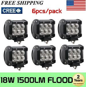 6x 4 Inch 18w Led Cube Fog Work Lights Pods Offroad Suv Atv Cars 4wd Truck24w48w