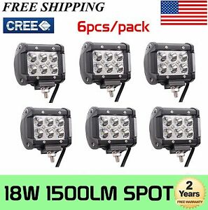 6x 4 Inch 18w Led Work Lights Spot Pods Cube Offroad Atv Truck 4wd Driving Ute