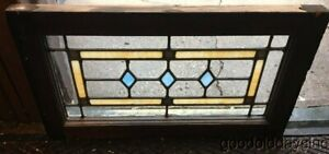 1 Of 2 Antique Stained Leaded Glass Transom Window 26 By 14