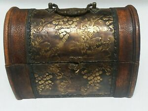 Small Vintage Wood Chest Leather Covered With Hammered Brass Overlay