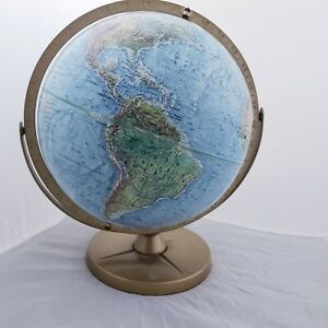Vintage 12 Dia Replogle Land Sea Globe Raised Terrain Usa