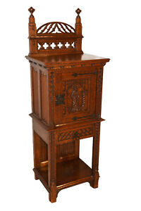 Antique French Gothic Cabinet Narrow Model 19th Century Oak