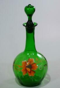 Victorian Enamel Painted Poppy Green Art Glass Decanter