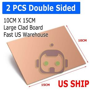 2pcs 10cm X 15cm Two Sided Diy Copper Clad Plate Laminate Pcb Circuit Board Lw