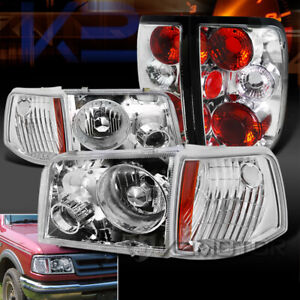 Fit 1993 1997 Ford Ranger Clear Projector Headlights Corner Lights Tail Lights