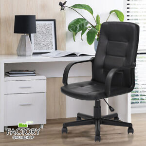Executive High Back Office Chair Leather Swivel Computer Desk Seat Armrest
