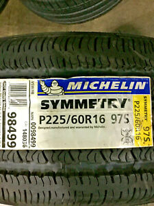 4 New 225 60 16 Michelin Symmetry White Wall Tires
