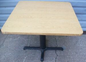 Restaurant Equipment 35 Square Table Top With Cast Iron Base Light Oak Top