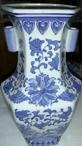 Rare Large Chinese Cloisonne On Ceramic White Blue Vase W A Floral Decorative