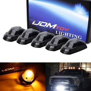 5pc Smoked Lens Amber Led Cab Roof Clearance Lights For 17 up Ford F250 F350 Sd