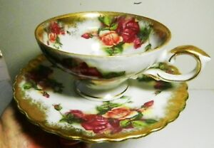 Royal Sealy China Gilded Embossed Footed Cup Saucer Roses Japan