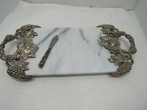 Godinger Marble Silver Cheese Serving Tray Grapevine White With Knife