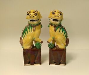 Antique Chinese Export Foo Lion Dogs Sancai Glaze 12 High