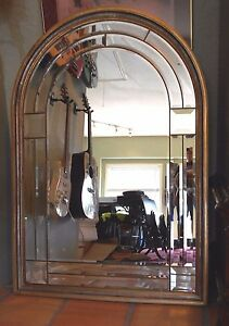 Mid Century Italian Mirror Separate Beveled Glass Components 54 X36