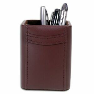 Dacasso Leather Pencil Cup Chocolate Brown