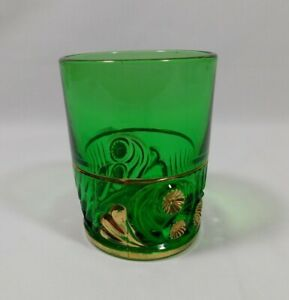 Green Antique Victorian Gold Embossed Tumbler Glass Floral 3 75