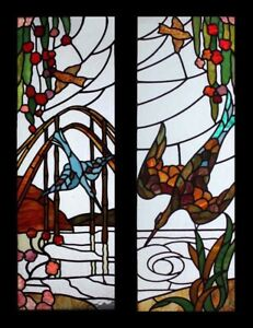 Special Rare Art Deco Flight Of The Birds Pair English Stained Glass Windows