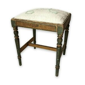 Sweet Shabby Wood Vtg Antique Painted Vanity Chair Stool