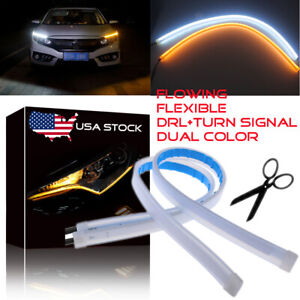 45cm Led Switchback Car Headlight Sequential Drl Light Strip Tube White Amber Us