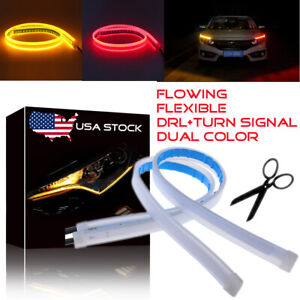 45cm Slim Led Switchback Headlight Sequential Drl Light Strip Red