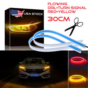 2pcs 30cm Switchback Led Headlight Sequential Drl Light Strip Tube Red Amber Usa