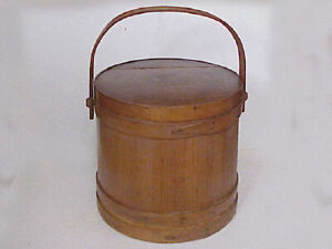 Antique Wooden Sugar Bucket Pail Swing Handle Firkin With Lid Lapped Wood Band