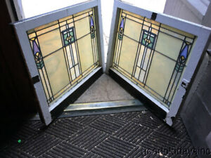 Wonderful Pair Of Arts Crafts Antique Stained Leaded Glass Windows 30 By 25