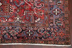 Vintage All Over Heriz Serapi Persian Area Rug Scarlet Hand Knotted Oriental 7x9