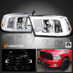 For 2009 2018 Dodge Ram 1500 2500 3500 Led Tube Projector Headlights Lamps L r