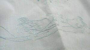 Antique 1920s Vintage Excellent White Cotton Embroidered Roosters Crib Sheet