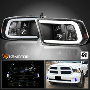 Black Fit 2009 2018 Dodge Ram 1500 2500 3500 Led Light Bar Projector Headlights