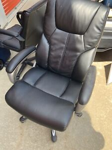 High Back Leather Computer Chair Black