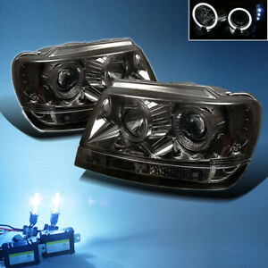 8000k Slim Xenon Hid smoked 99 04 Jeep Grand Cherokee Halo Projector Headlights