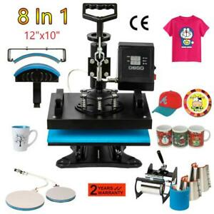 8 In 1 Heat Press Machine T shirt Mug Hat Plate Cap Swing Away Digital 110v 900w