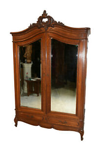 Antique French Armoire Double Doors With Mirrors 1920 S Oak