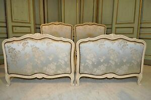 Antique Painted French Twin Beds Beautiful Floral Upholstered Stunning Bedroom