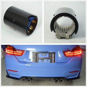 70mm Grilled Blue Real Carbon Fiber Glossy Exhaust Tip Pipe For Bmw M2 M3 M4 M5