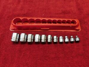 Snap on 11pc 6pt Sae 3 8 Shallow Socket Set 211fsy 1 4 7 8