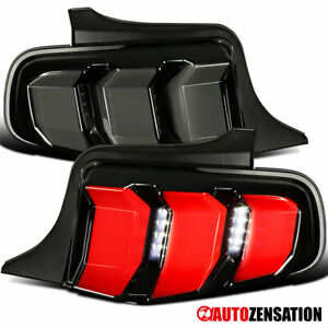 For 2010 2012 Ford Mustang Glossy Black Smoke Sequential Led Signal Tail Lights