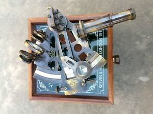 Antique Gps System German Brass Victorian Old Sextant With Wooden Box Gift